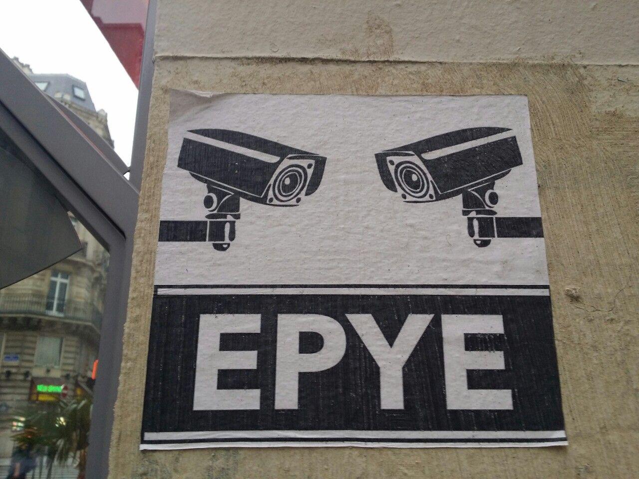 Paste up by EPYE in Paris.  Collage par EPYE à Paris.