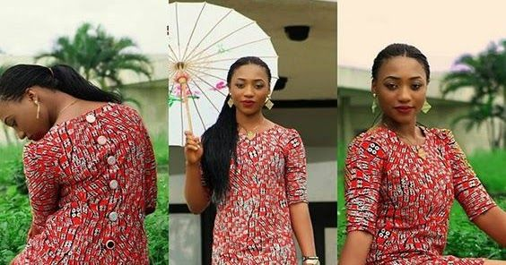 Simple Ankara Short Gowns For Ladies Button Down At The Back