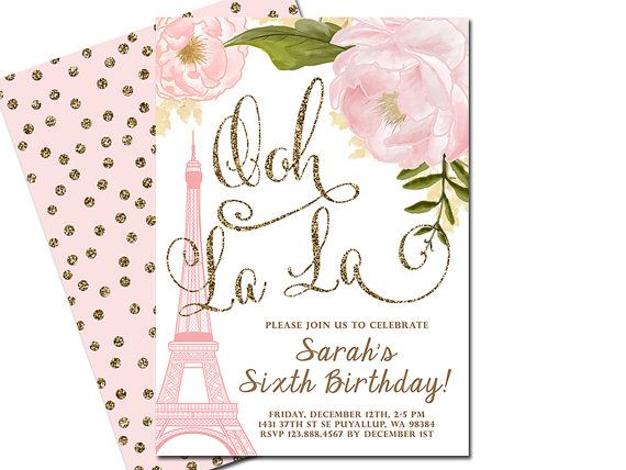 Paris birthday invitation eiffel tower french shower invitation paris birthday invitation eiffel tower french by sunnydayscreation stopboris Gallery
