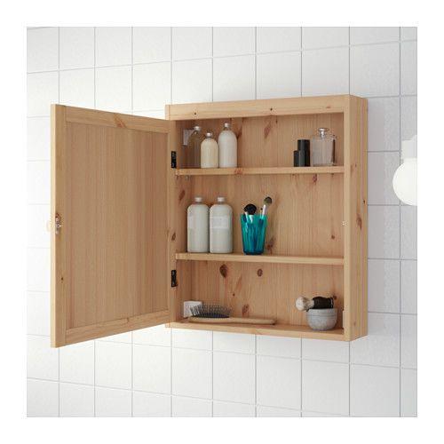 Silver n armario de espejo marr n claro 60 x 14 x 68 cm en for Bajo gabinete tocador bano de madera