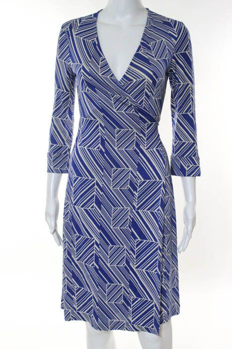 Diane Von Furstenberg Royal Blue White Silk Geometric