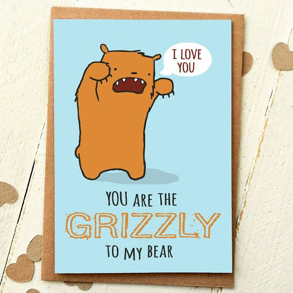 Grizzly To My Bear   Funny Valentine Love Card