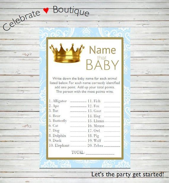 Royal Baby Shower  Instant Download Name that Baby  Royal Baby Animals Game Cards Prince Baby Sho