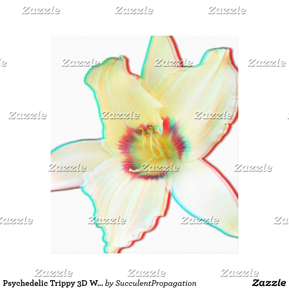 Psychedelic Trippy 3D White Lilly Flower Wrapped Canvas Art For Your ...