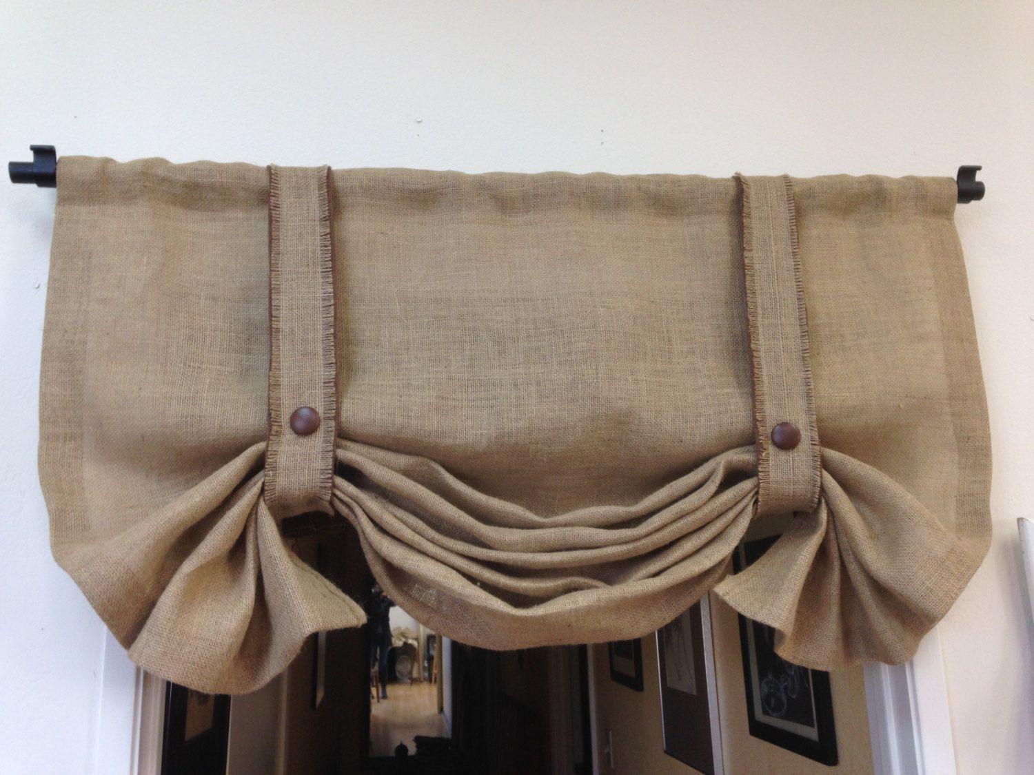 Burlap valance London shade Tie up shade Pull up shade Country