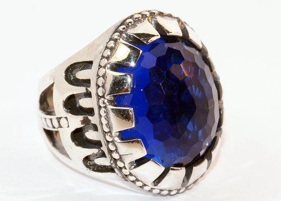 925 Sterling Silver Men's Ring with Totally por lunasilvershop