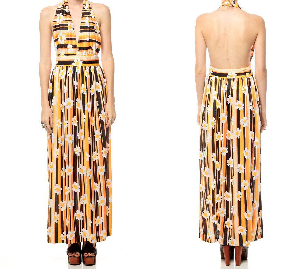 Long Hippie Dress 70s Maxi FLOWER POWER Striped by ShopExile, $57.00