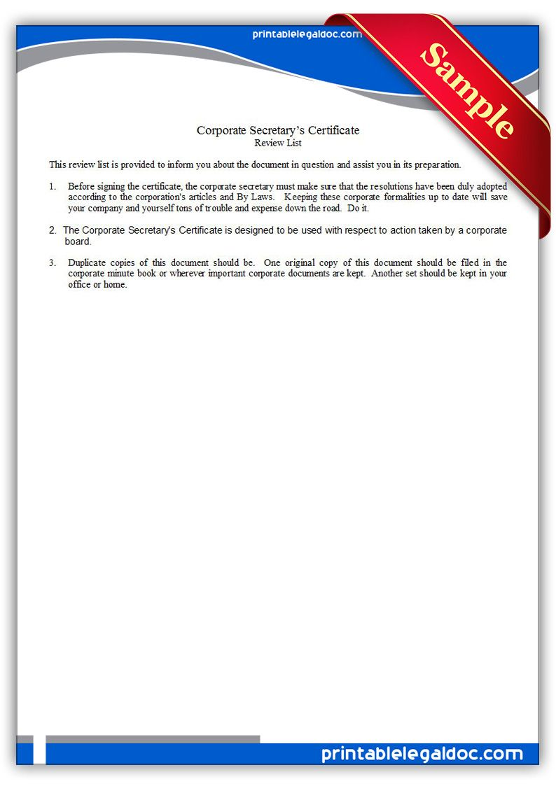 Free Printable Corporate Secretary\'s Certificate | Sample Printable ...