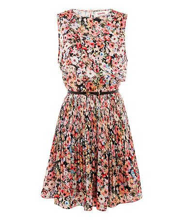 Love this Black & Pink Floral Karian Dress by Louche on #zulily! #zulilyfinds