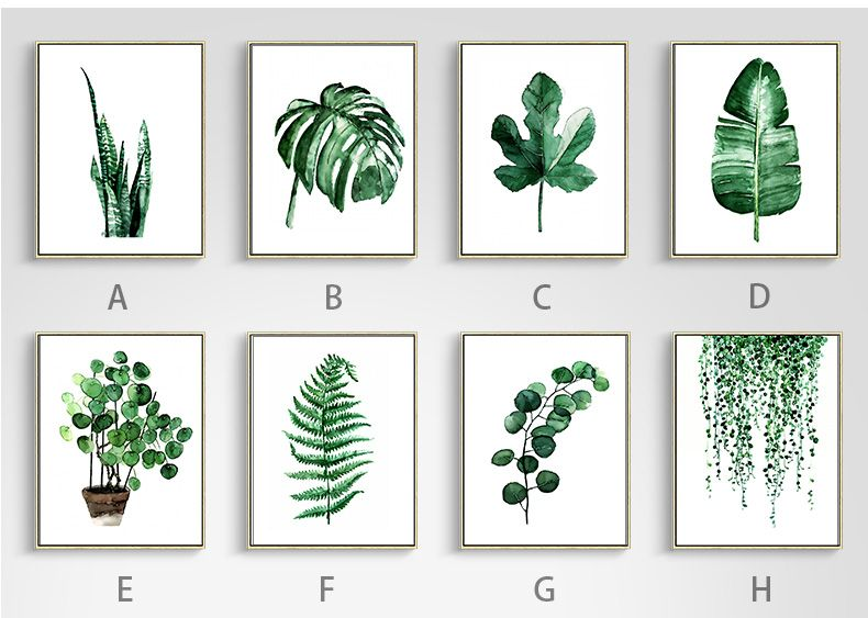 Green Tropical Plant Leaves Canvas Art Print Poster Free