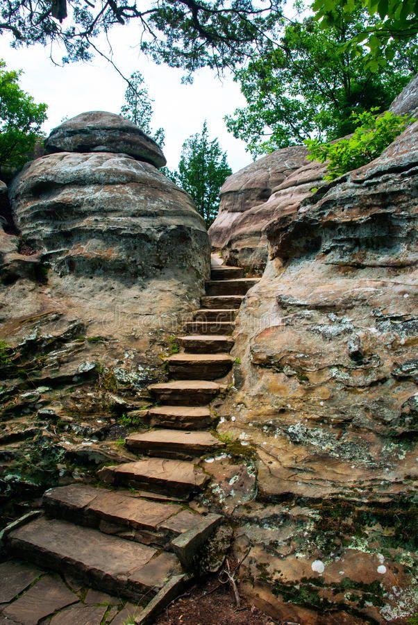 Path in rocks, Garden of the Gods Wilderness, Illinois
