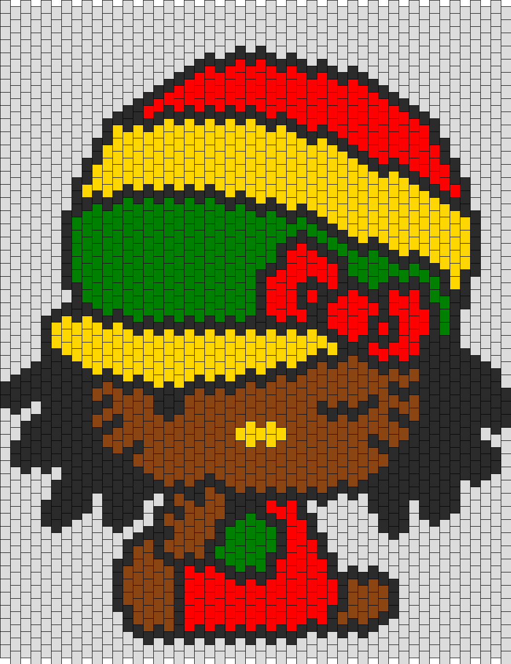 Reggae Hello Kitty bead pattern | Hello Kitty perler | Pinterest ...