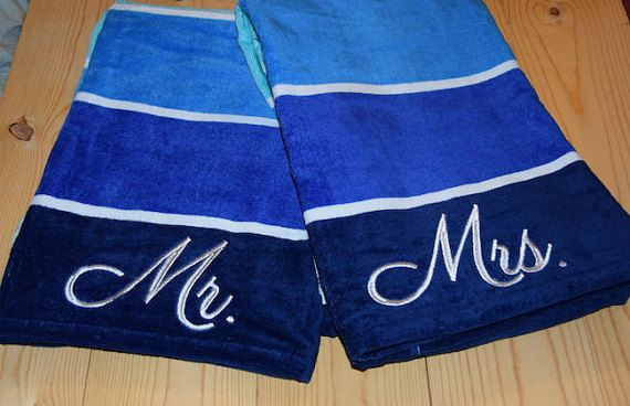 Mr And Mrs Embroidered Matching Beach Towels Perfect For Your