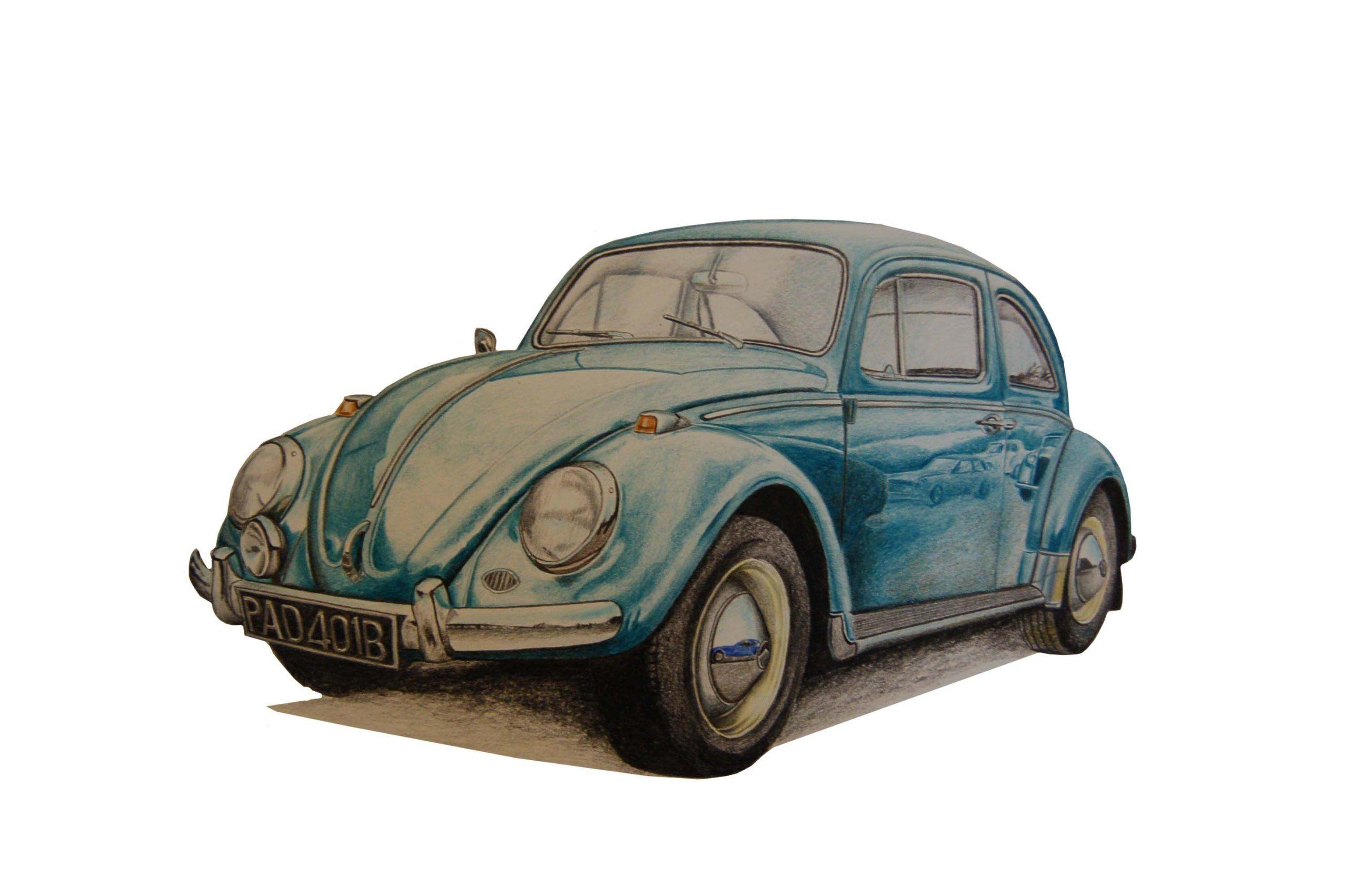 An Original Colour Pencil Drawing Of A 1965 Vw Beetle Artist