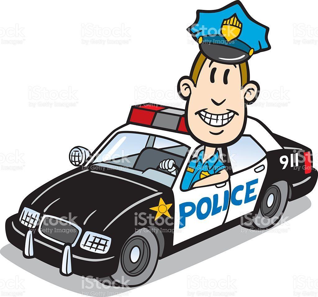 Http Media Istockphoto Com Vectors Cartoon Cop In Police Car