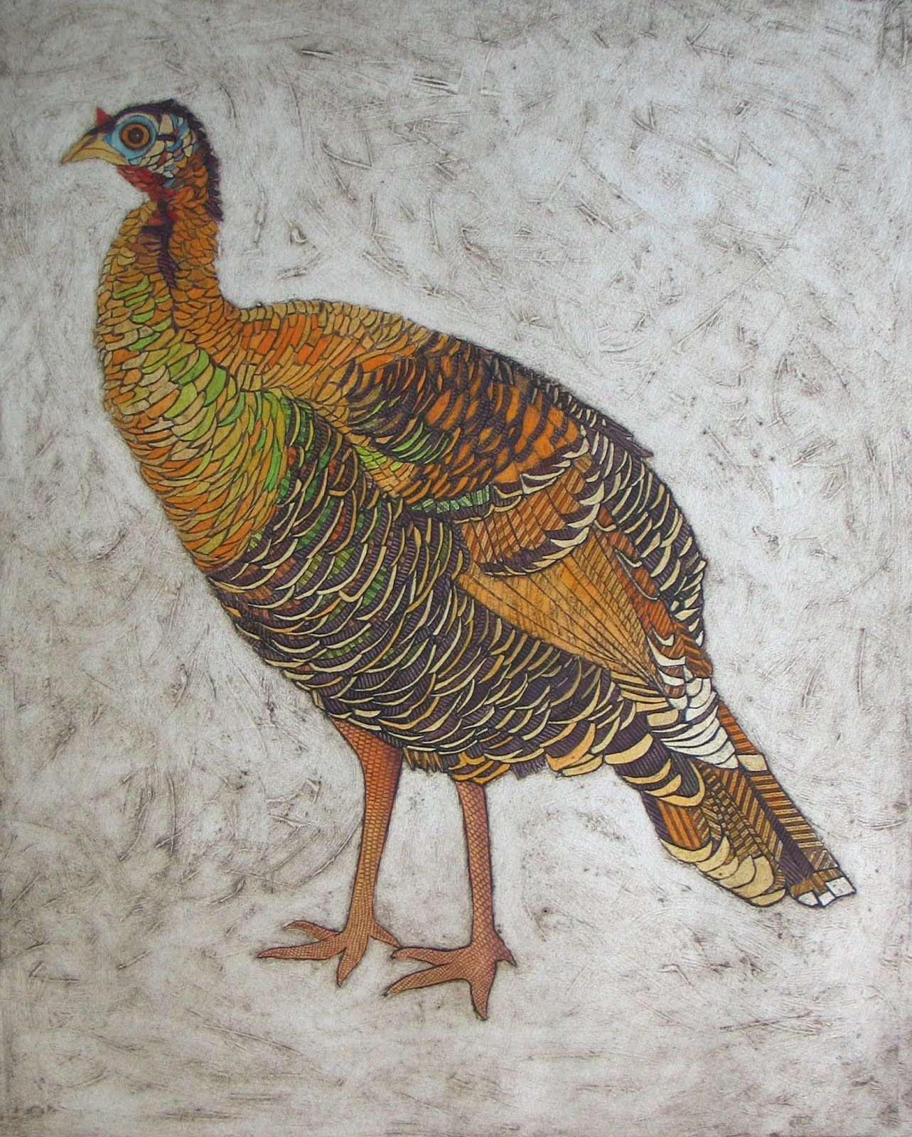 Wild Turkey Hen 2 Hand Colored Collagraph Of Textured