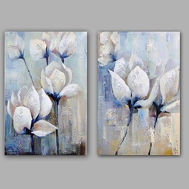 Peint à la main Abstrait / A fleurs/Botanique Peintures à l\u0027huile