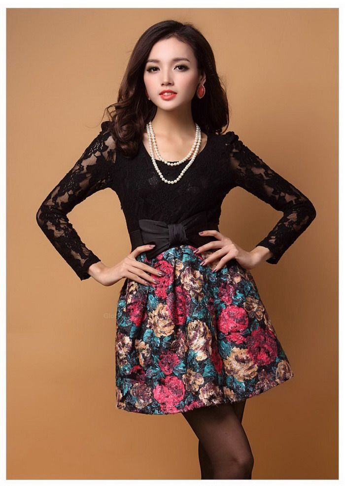 Modern Style Flowers Pattern Lace Splicing Scoop Neck Long Sleeve Worsted Dress For Women (With Belt) (AS THE PICTURE,ONE SIZE) China Wholesale - Sammydress.com