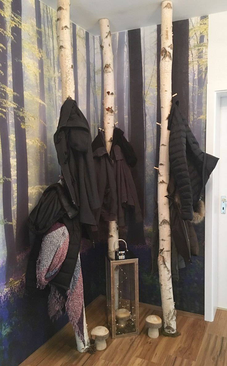 Birkenstamm Garderobe Von Birkendoc Platzsparend Birkendoc