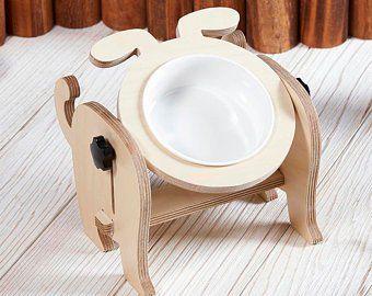 Pequeño mediano gato soporte de alimentación perro/criado de madera soporte elevado/personalizar plato de cerámica y alimentos cuencos/elevar la estación de alimentación de mascotas