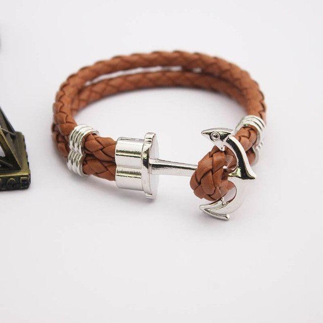 Mens Leather Sea Anchor Bracelets (12 colors)