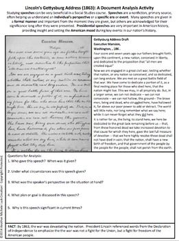 Lincoln S Gettysburg Address American Speeches Document Analysis