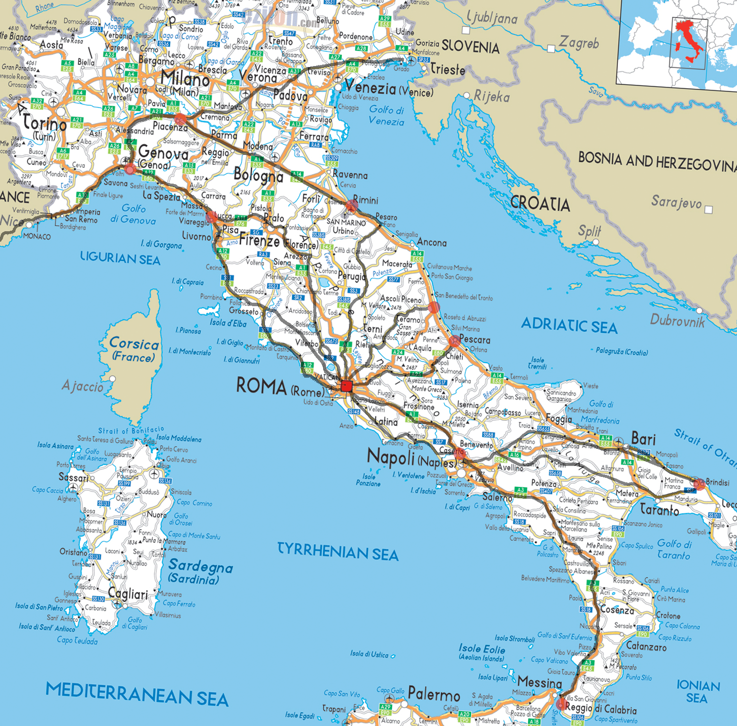Map Of Ancient Italy Regions.Ancient Roman Roads Overlaid On A Modern Road Map Of Italy Maps