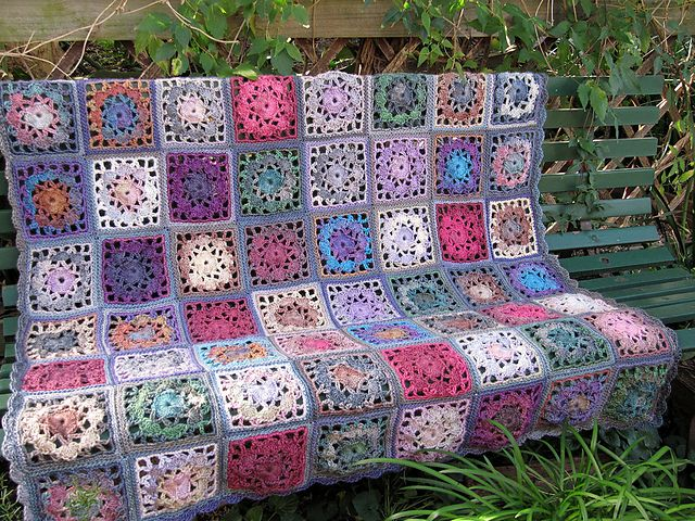 link to free pattern Ravelry: Crochet Patchwork Throw pattern by ...