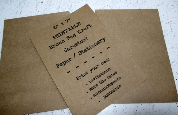 image about Printable Cardstock Invitations named 100 5x7 PRINTABLE Kraft Cardstock, Brown Bag Kraft Paper