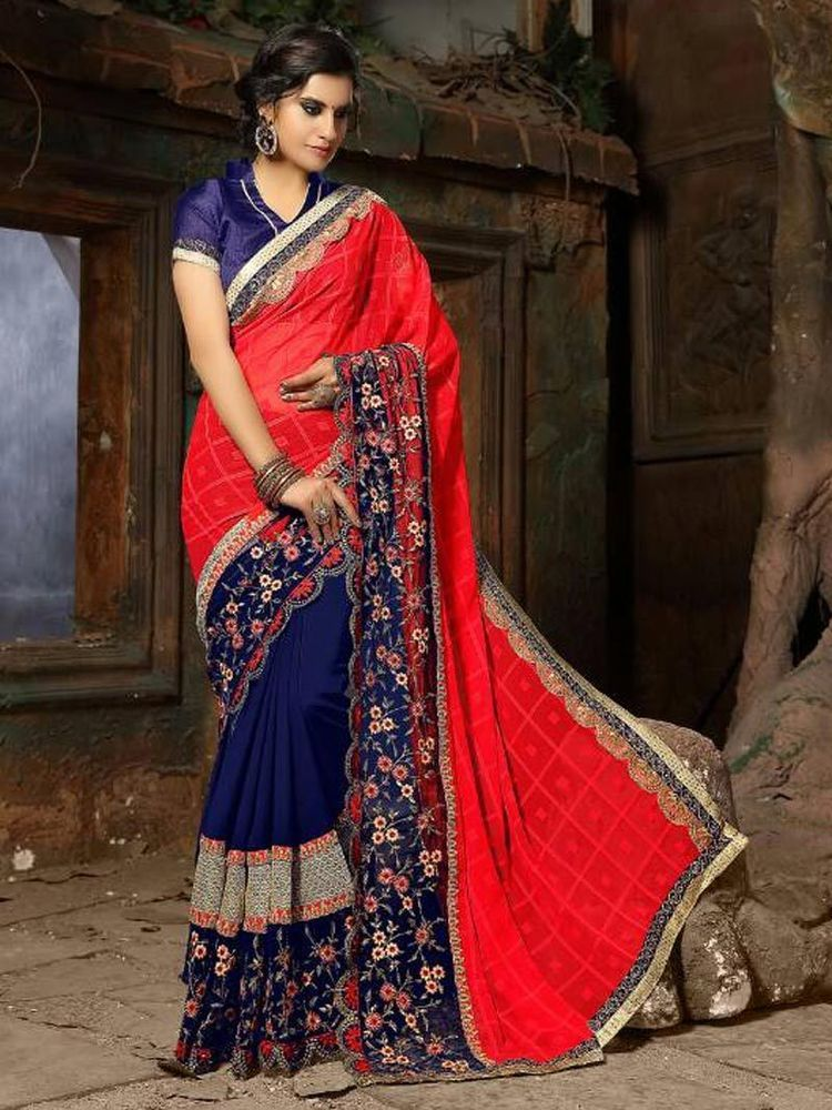 08a5f14fcec028 New party wear sarees fabric georgette indian bollywood embroidered work
