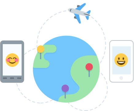 Three pins on a globe connected by a plane and emojis using mobile devices.