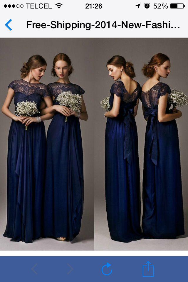 273c523355a0 Resultado de imagen para vestido de dama de honor azul marino ...