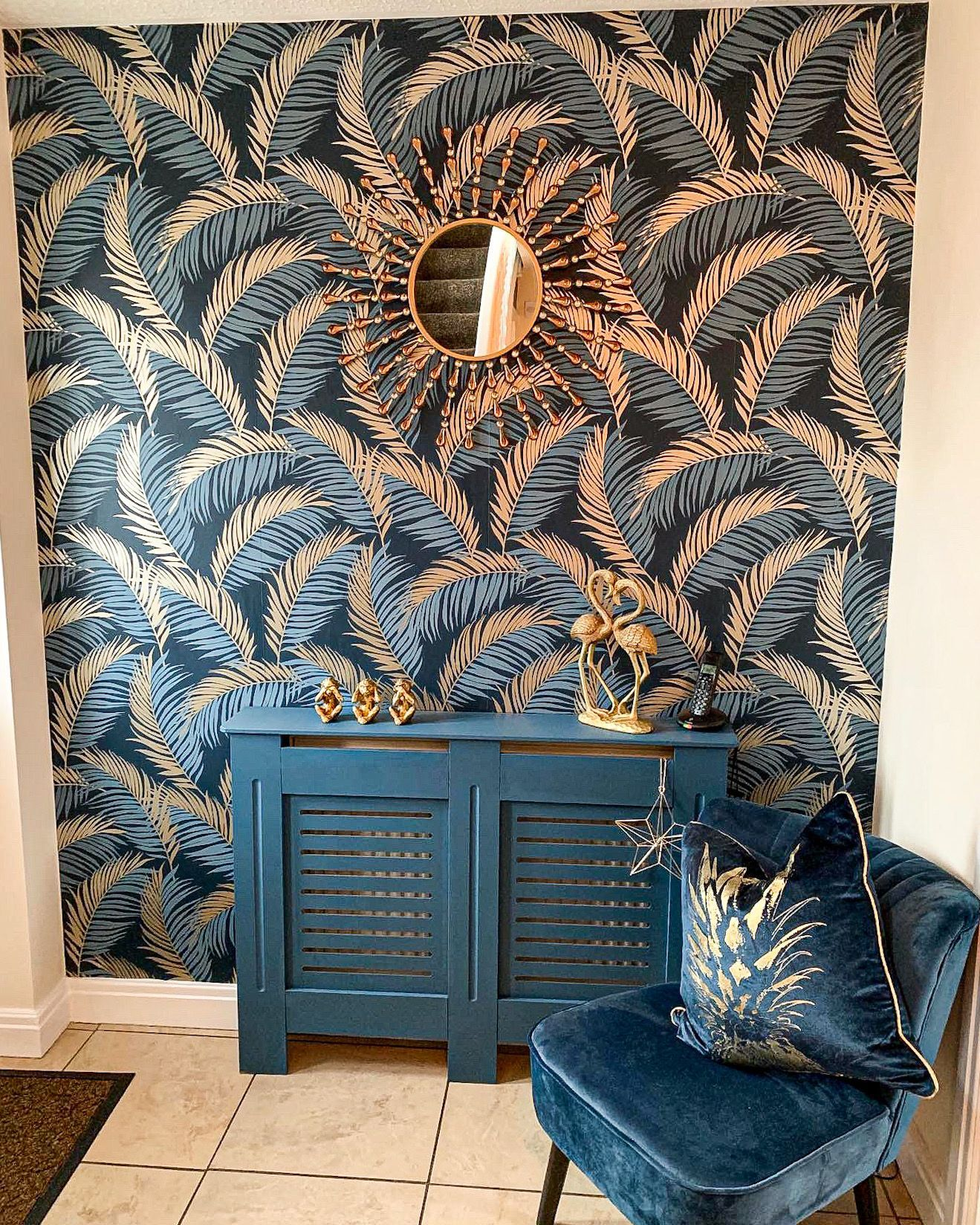 Vivienne Leaf Wallpaper Navy, Gold in 2020 Love