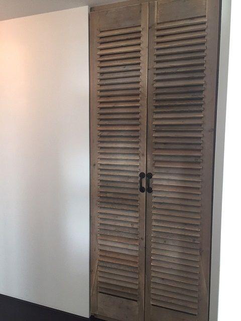 Steigerhouten louvre deuren op maat gemaakt badkamer for Zoldertrap op maat