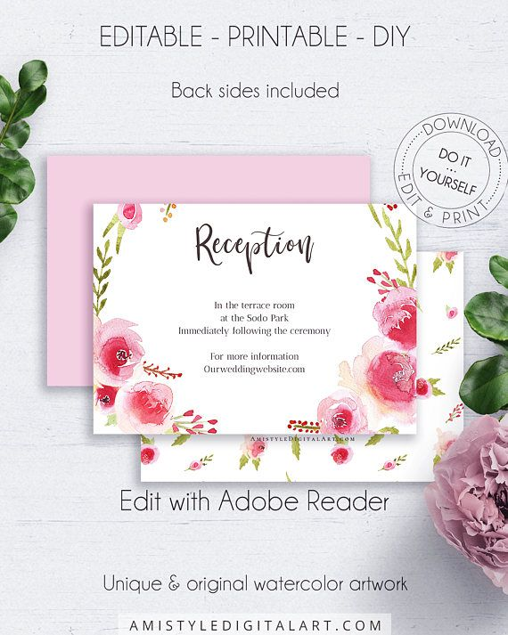 This Beautiful Wedding Reception Card Template Is An Instant Editable Pdf Pack So You Can