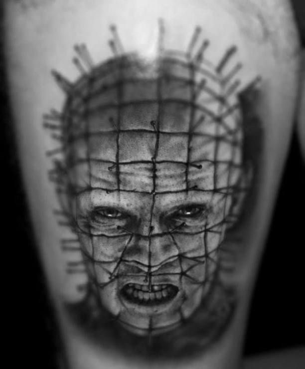 Face with wire portrait Horror Tattoo   #Tattoo, #Tattooed, #Tattoos