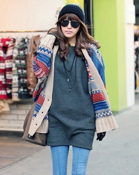 Tribal aztec hooded cardigan, women color block hooded cardigan ...