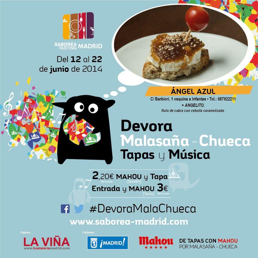 Ven a #DevoraMalaChueca y descubre las promociones:  ¡Botellín + tapa por sólo 2,20 €! ¡Tercio + entrada a concierto por 3€! http://www.saborea-madrid.es/evento/20/devora-malasana-chueca/