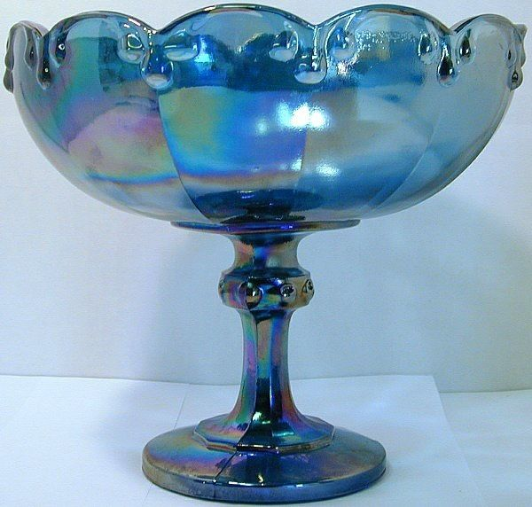 Image detail for -Indiana Glass iridescent blue carnival glass compote - Indiana