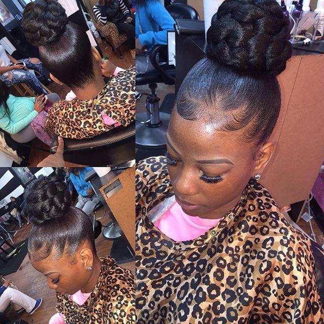 Shamell On Instagram Braided Bun Thehairbosslounge Black Hair Updo Hairstyles Junior Bridesmaid Hair Natural Hair Updo