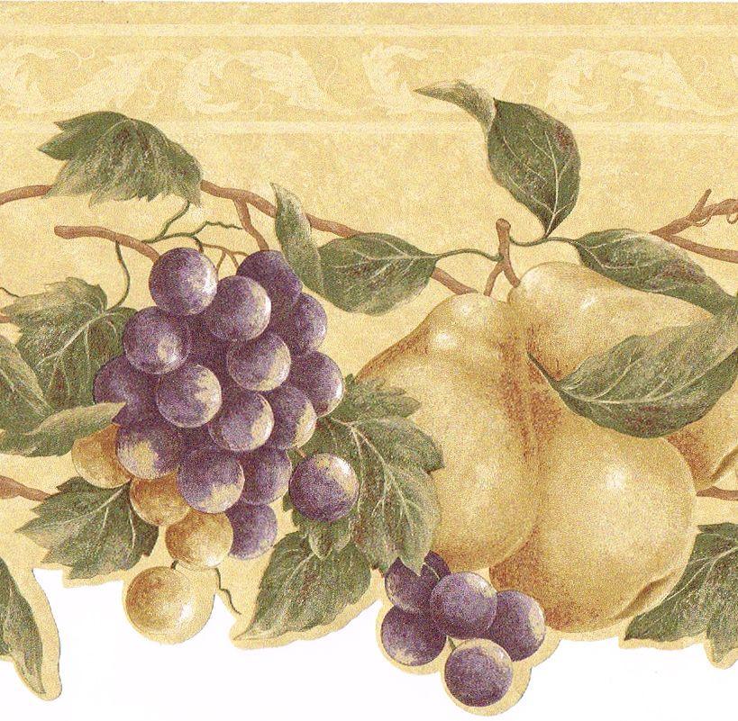 Tuscan Tuscany Fruit Purple Grape Vine Pears Beige Kitchen