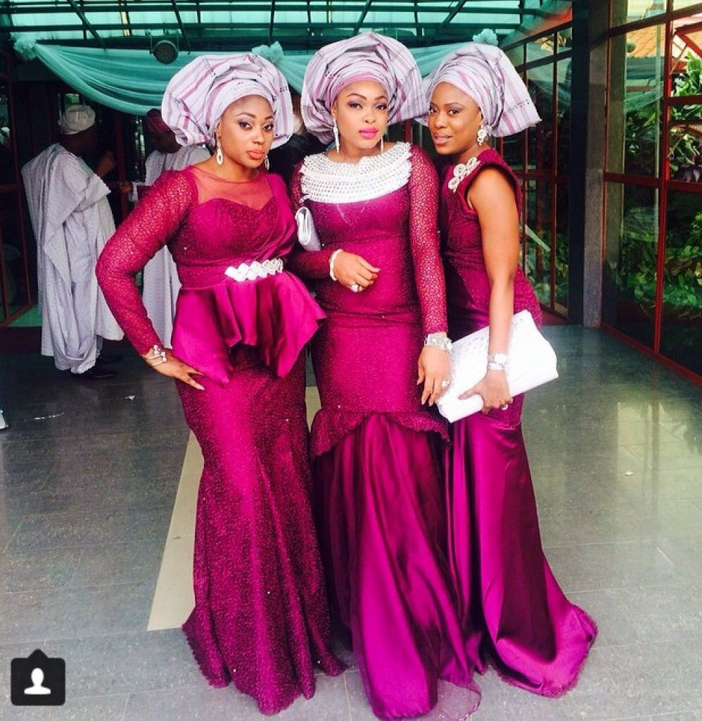 Burgundy Aso Ebi Lace Fashion African Clothing African Fashion