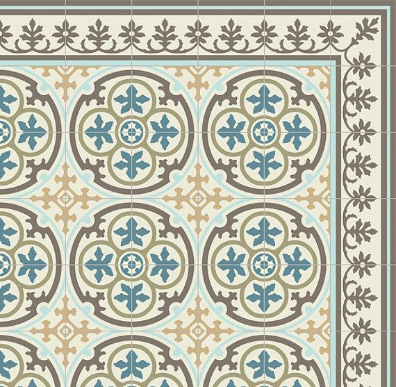 PVC Vinyl Mat Tiles Pattern Decorative Linoleum Rug Blue