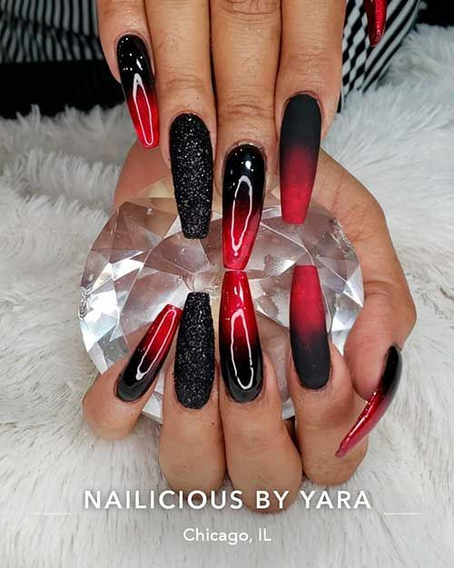 Amazing Ombre Red Nails With Black Glitter Accent Nail Design Red Nail Art Designs White And Silver Nails Ombre Nails Glitter