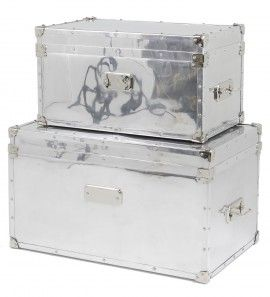 Charming Luxury Aviator Flight Case Coffee Table Trunks Furniture Storage Trunk  Metal Silver