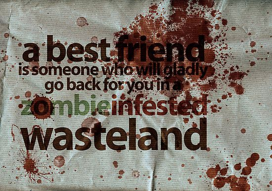 A best friend is someone who will gladly go back for you in a zombie infested wasteland. @Kevin Muir glad to have a best friend like you.
