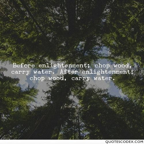 Before Enlightenment Chop Wood Carry Water After Enlightenment Chop Wood Carry Water Water Quotes Money Quotes Enlightenment