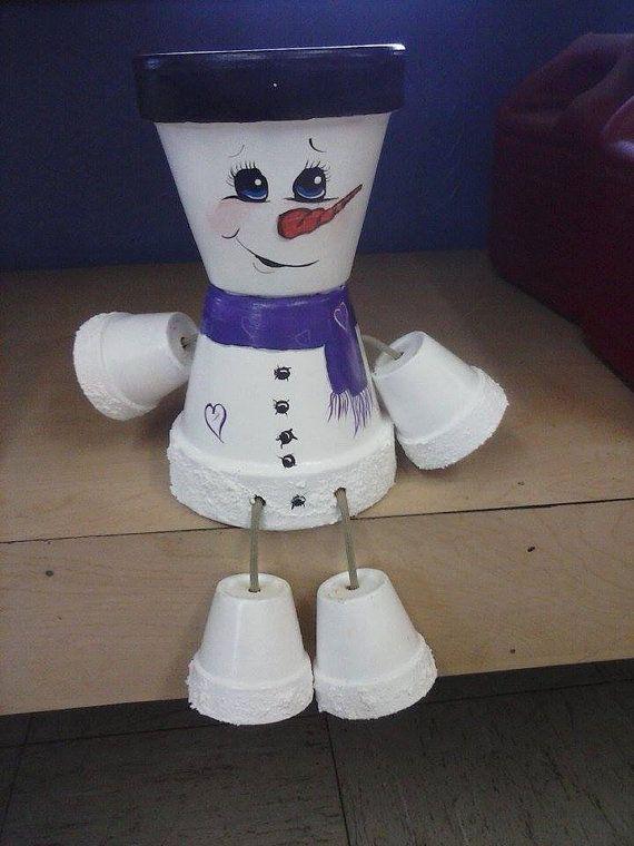 Snowman pot people | Pots de fleurs, Pots et Pots de ...