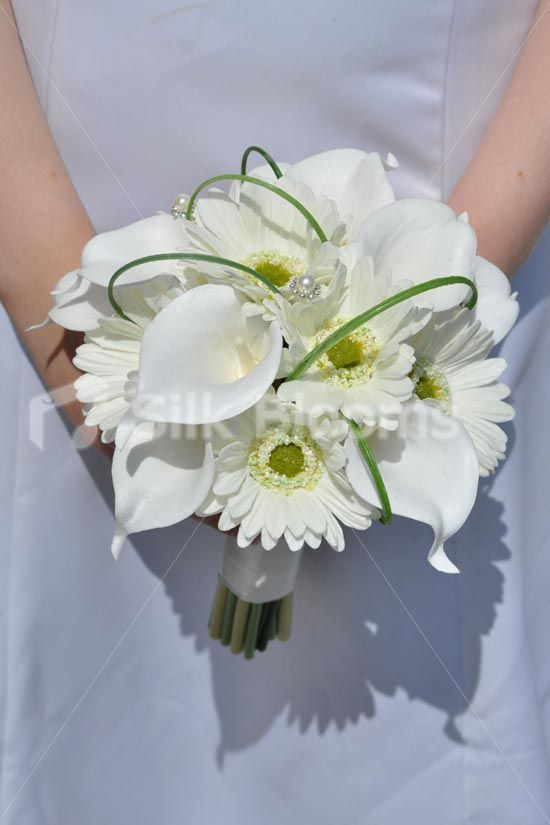 Stunning Modern Ivory Gerberas And Calla Lily Bridal Bouquet