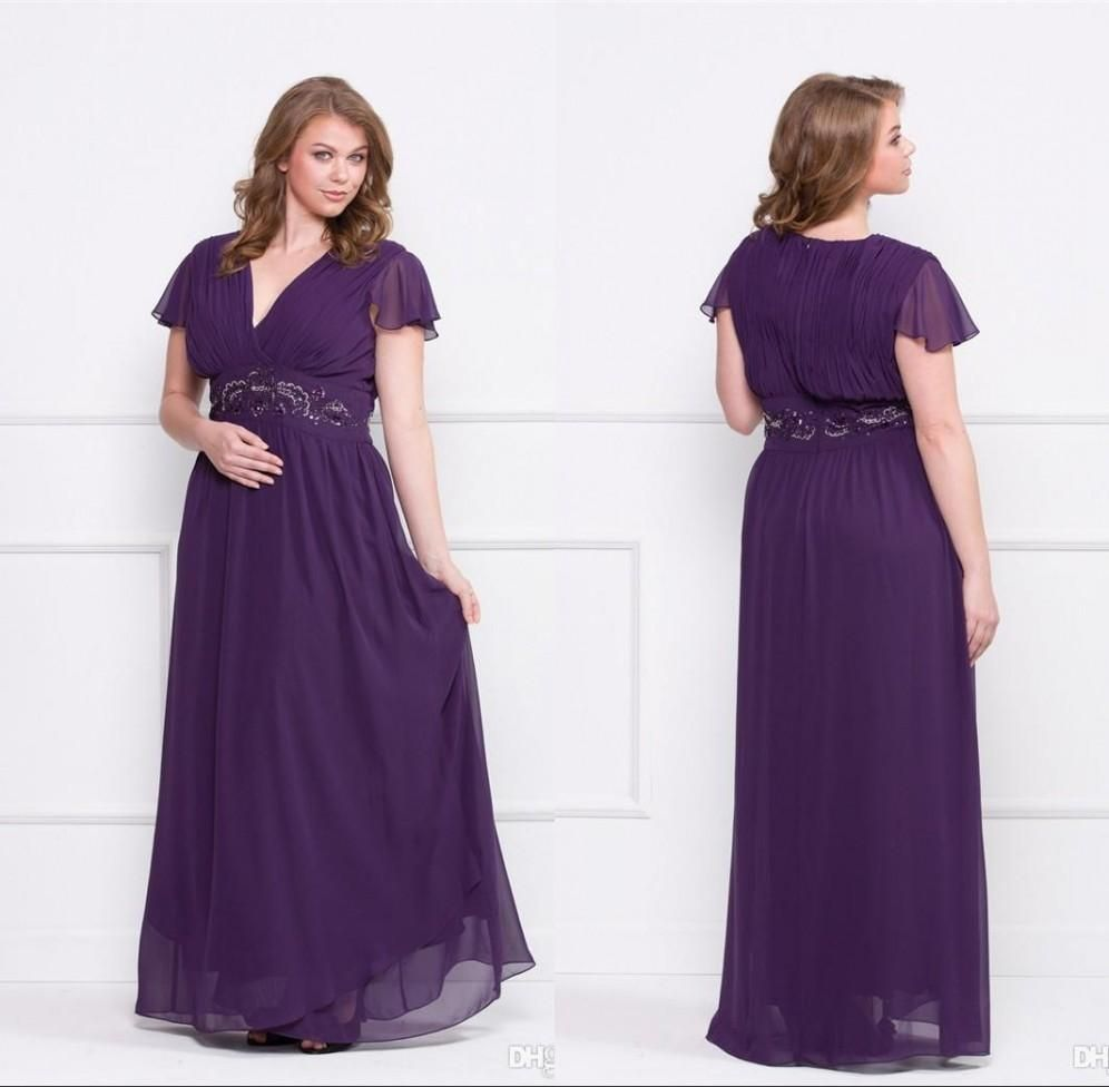 Purple 2015 Plus Size Mother Of Bride Dresses A Line V